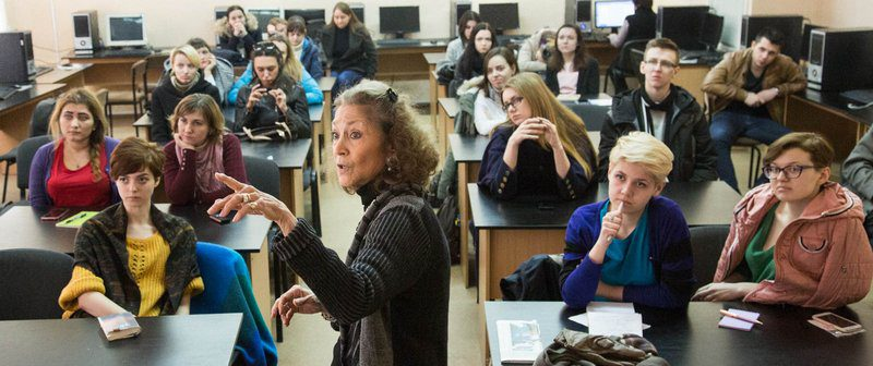 3/30/16 Kharkiv, Ukraine -- Kharkiv National University journalism class led by Sherry Ricchiardi.